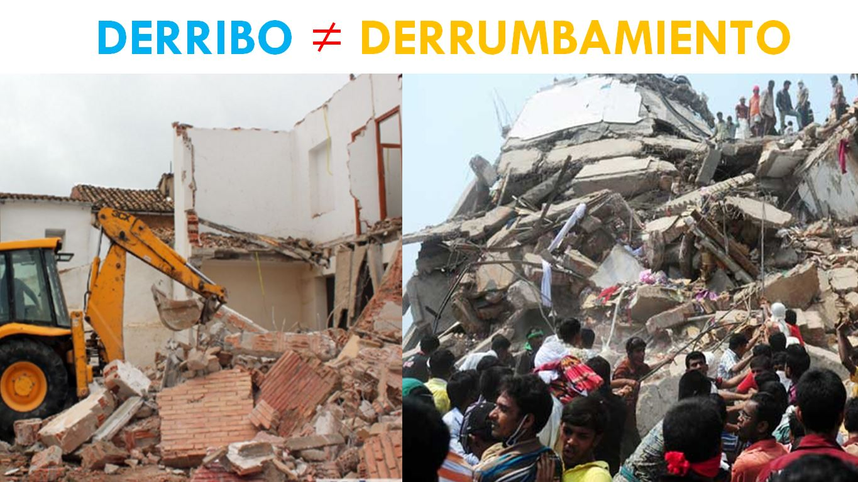 DIFERENCIA ENTRE DERRIBO Y DERRUMBAMIENTO